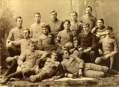 Michigan football players in a team photo from 1890