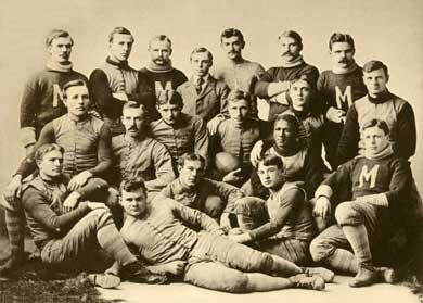 Michigan football players in a team photo from 1892