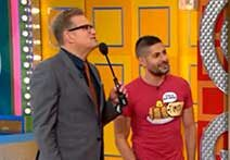 Price is Right shot with Drew Carey and Michigan Law alum Tim Caballero.