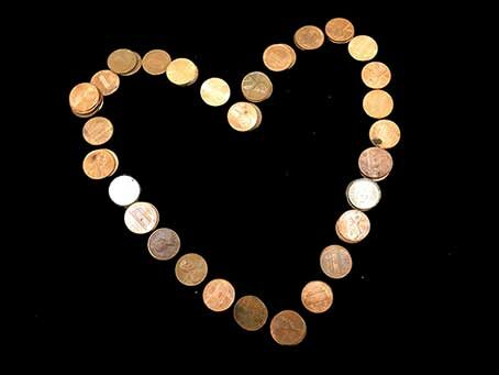 Heart made from pennies, and a few dimes.