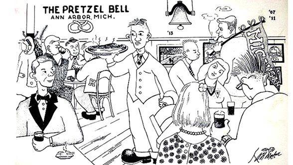 A vintage Pretzel Bell postcard.