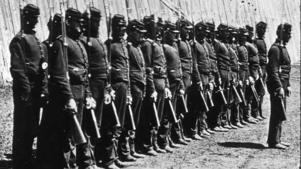 Union soldiers in training, Bentley Historical Library