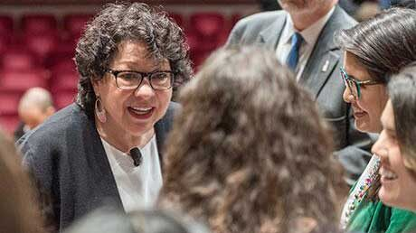 Justice Sonia Sotomayor chats with students at bicentennial colloquium. (Photo: Scott C. Soderberg, Michigan Photography.)
