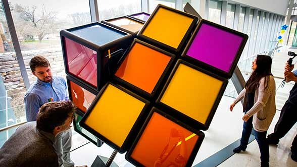 Giant Rubik's Cube installed on North Campus, 4-17