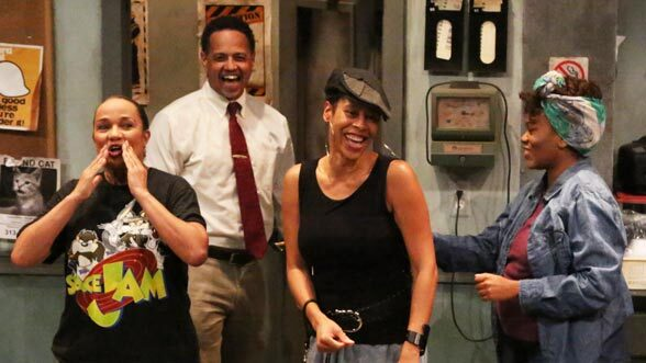 """""""Detroit's playwright,"""" Dominique Morisseau on stage with the cast of Skeleton Crew."""