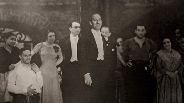 George Gershwin & cast taking their bows after opening night performance, Alvin Theatre, NY, Oct. 10, 1935