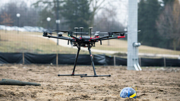 Drone drops ball at M-Air.