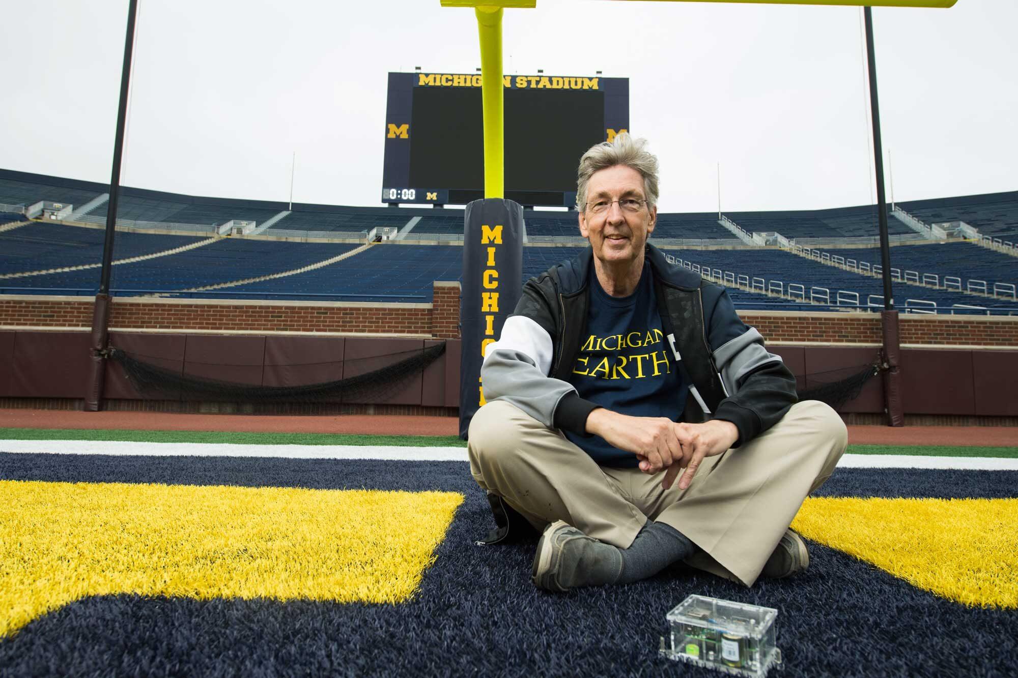 U-M geologist Ben van der Pluijm in Michigan Stadium