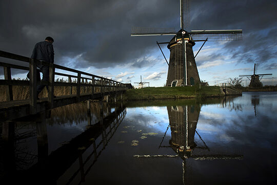 Windmills in Kinderdijk, just outside of Rotterdam.