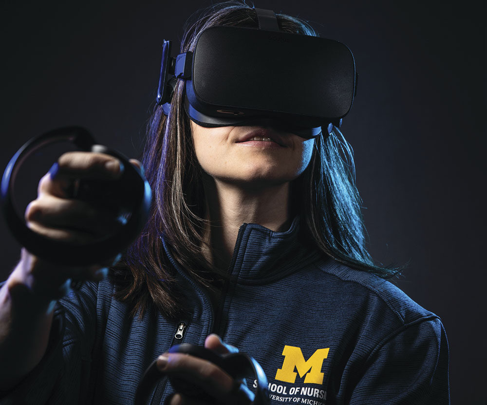 U-M Nursing student experiments with VR Technology.