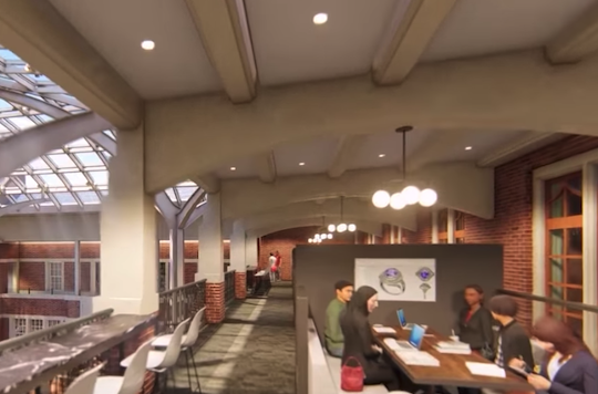 2nd floor interior of renovated Michigan Union. Artist rendering.