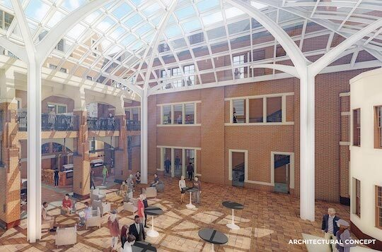 Artist's rendering of indoor courtyard at the Michigan Union.