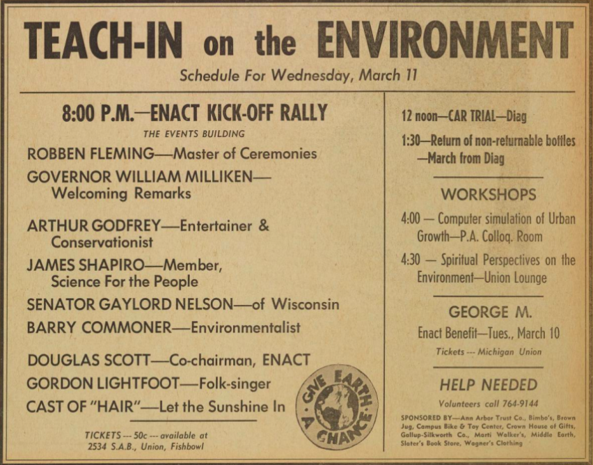 Day one schedule for teach-in, 1970