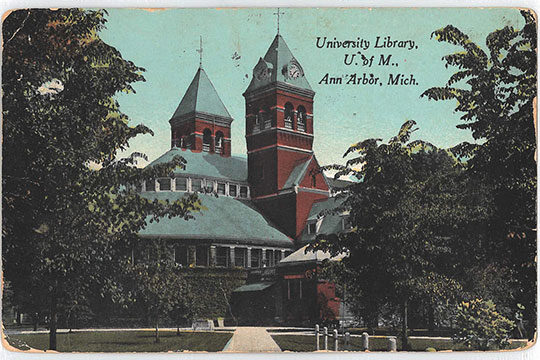 Old U-M Library, postcard