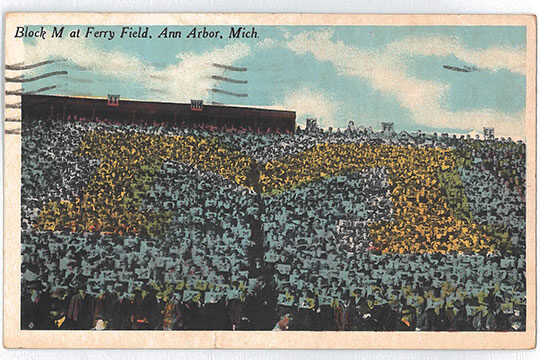 U-M Stadium, postcard, historic