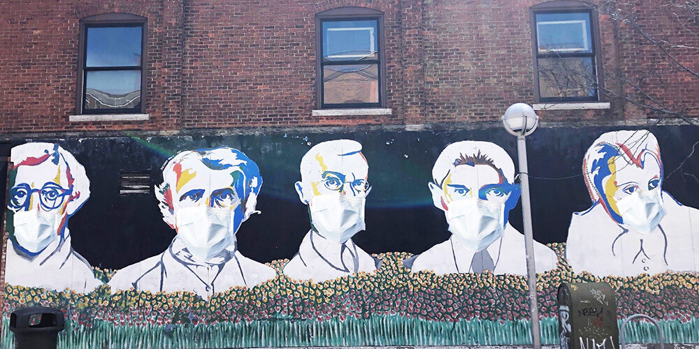 Ann Arbor mural characters with face masks