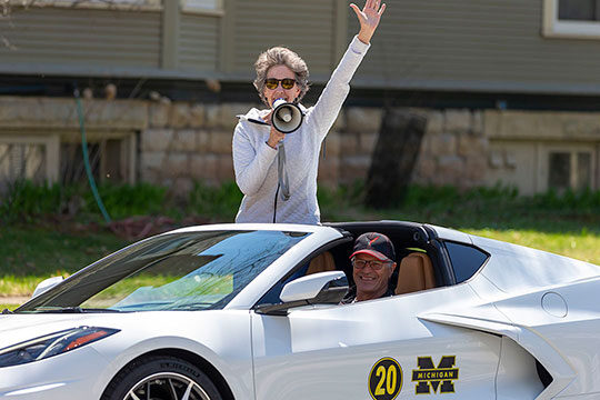 Couple in Michigan car with megaphone