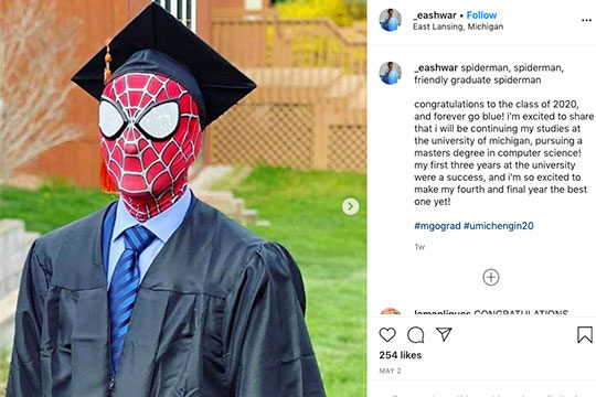 Grad in Spiderman mask