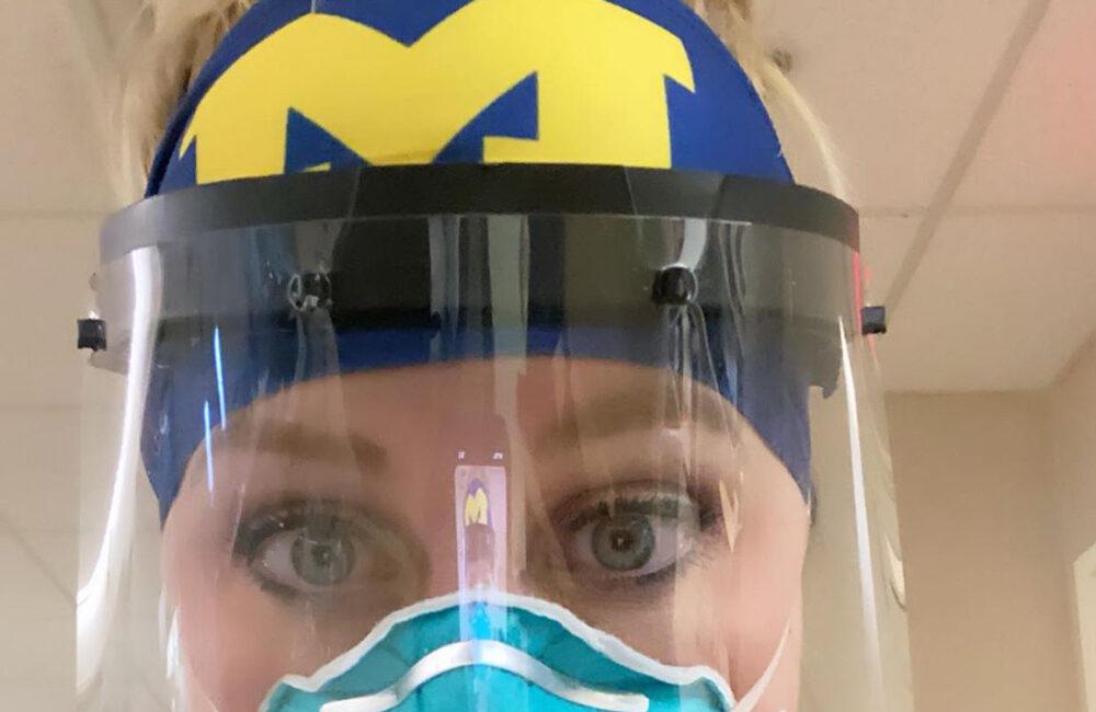 Michigan Medicine Nurse in PPE gear, summer 2020