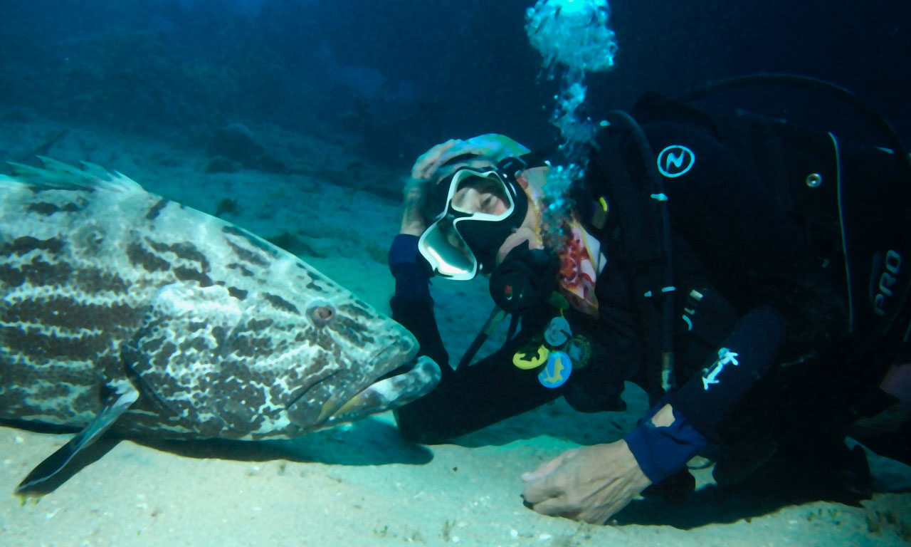 Cathy Church with a grouper