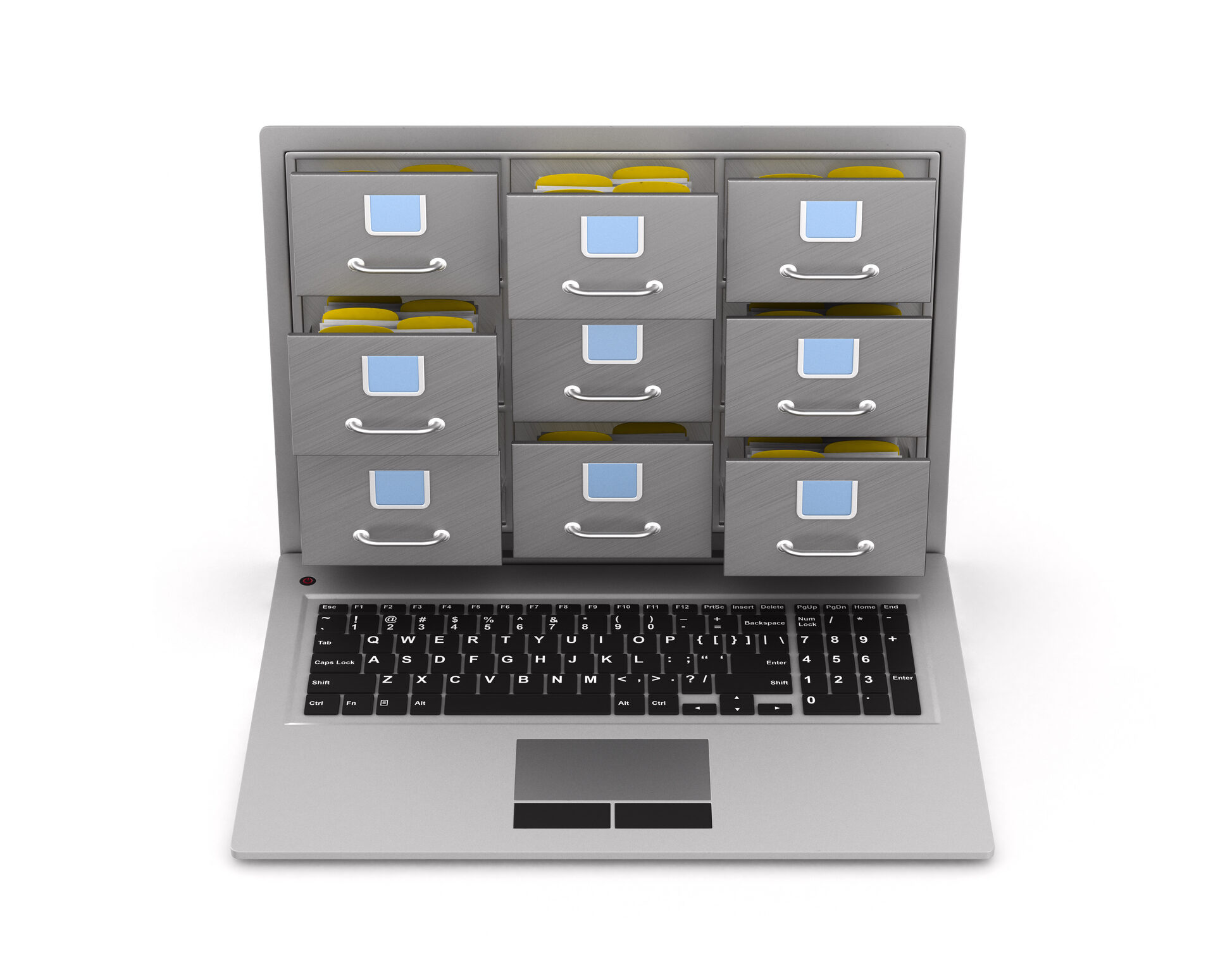 Laptop with filing cabinet on white background. Isolated 3D illustration.