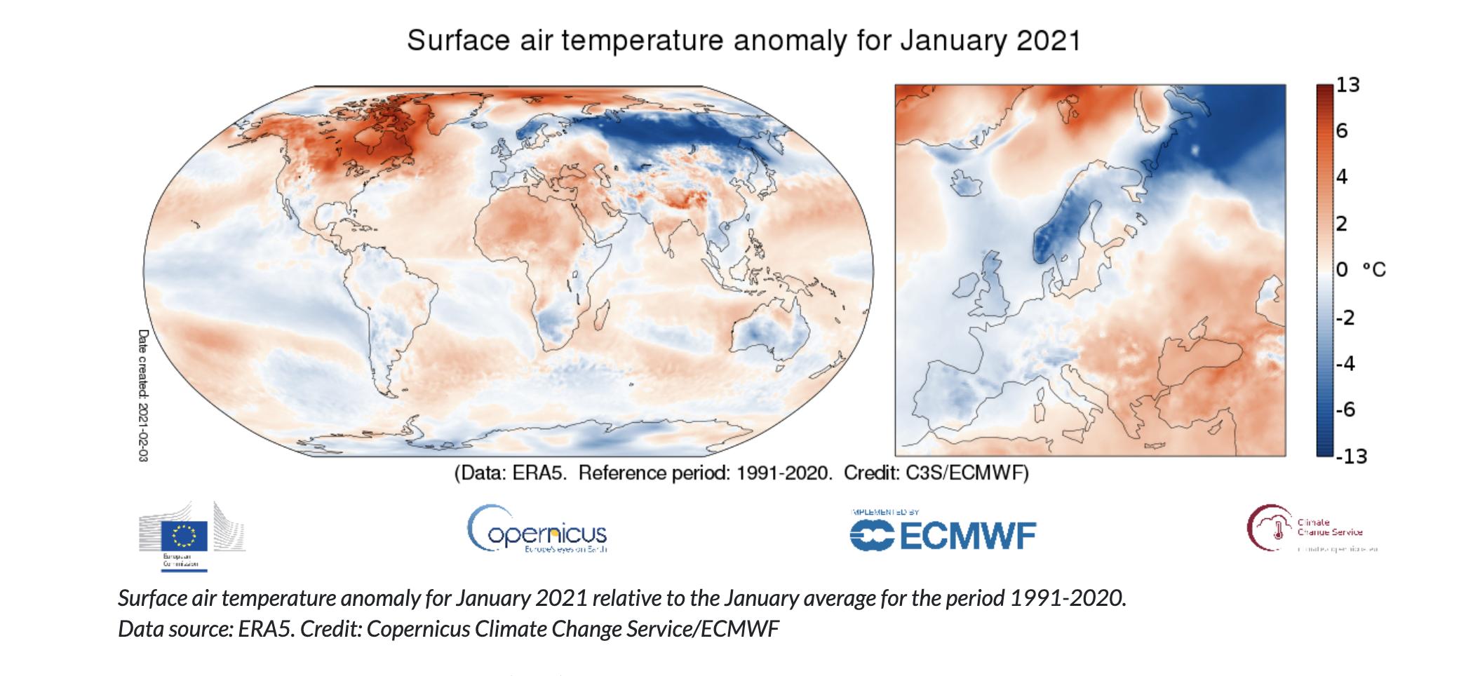 Surface air temperature graphic