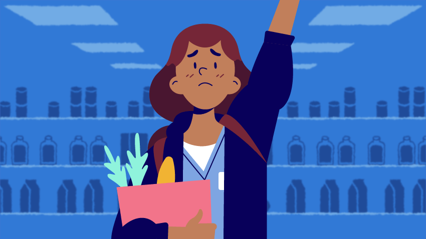 Graphic of a medical student holding groceries and raising their hand.