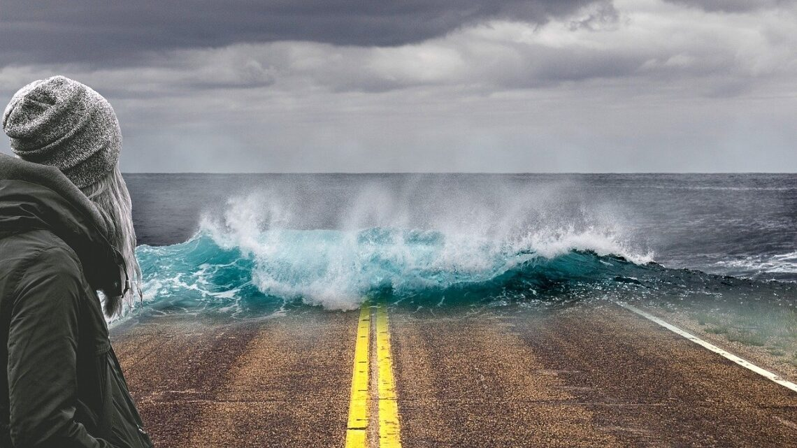 Woman watches waves on the highway
