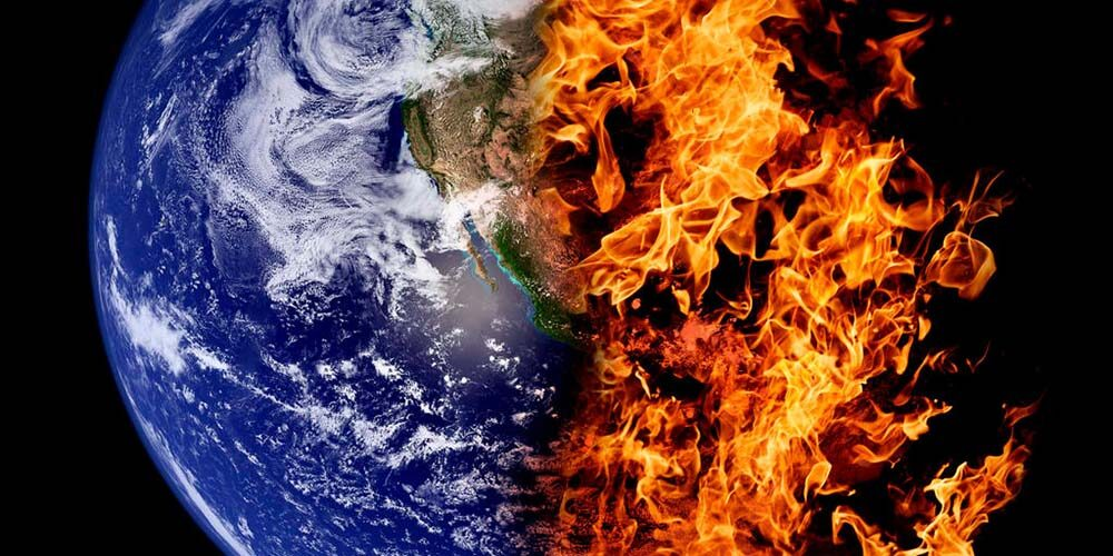 """Flaming earth graphic from Al Gore film """"An Inconvenient Truth"""""""