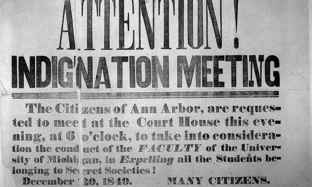 Frat War notice of Indignation Meeting to expel students